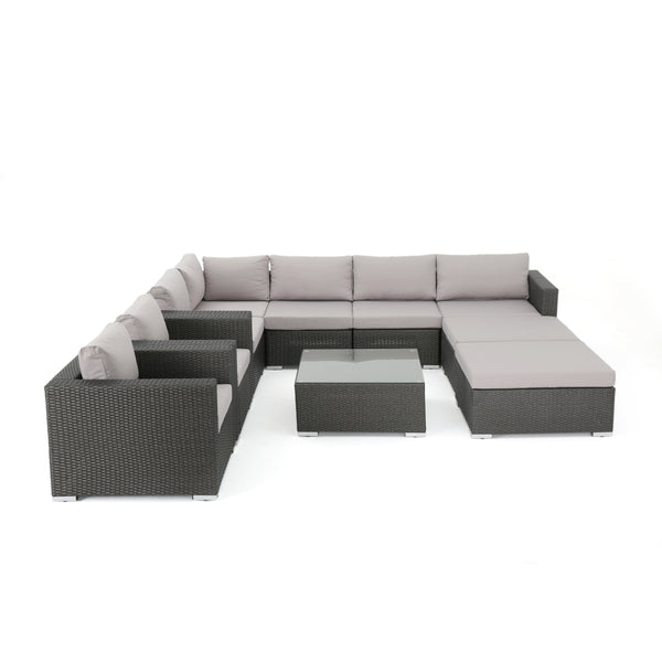 Karl Outdoor 7 Seater Wicker Sectional Sofa with Aluminum Frame