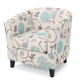 Palisades White and Blue Fabric Club Chair