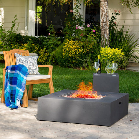 Hearth Square 50K BTU Outdoor Gas Fire Pit Table with Tank Holder