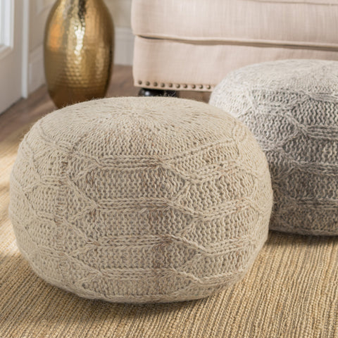 Magnolia Handwoven 100% Wool Pouf