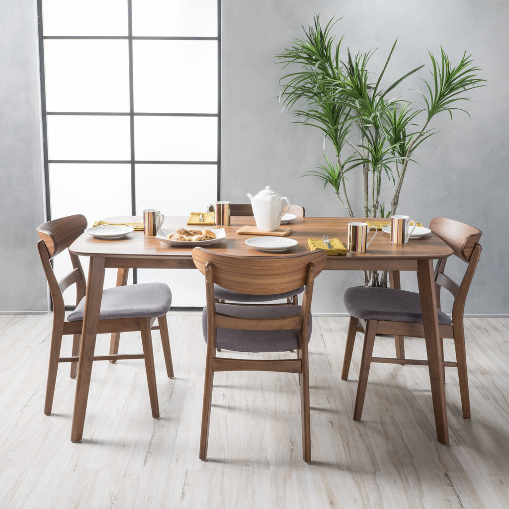 Helen Mid Century Fabric U0026 Wood Finish 5 Piece Dining Set