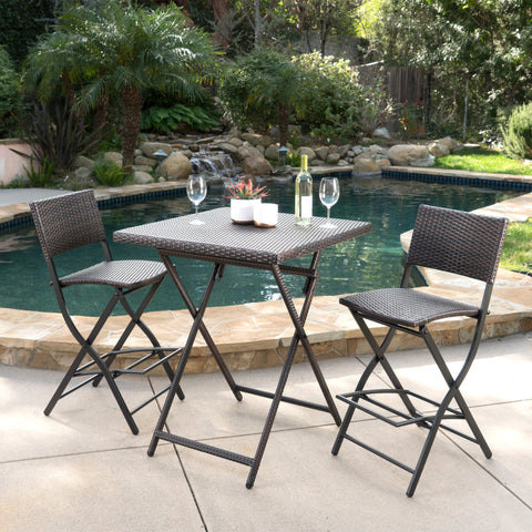 Marinelli Outdoor Multibrown Wicker 3 Piece Bar Set
