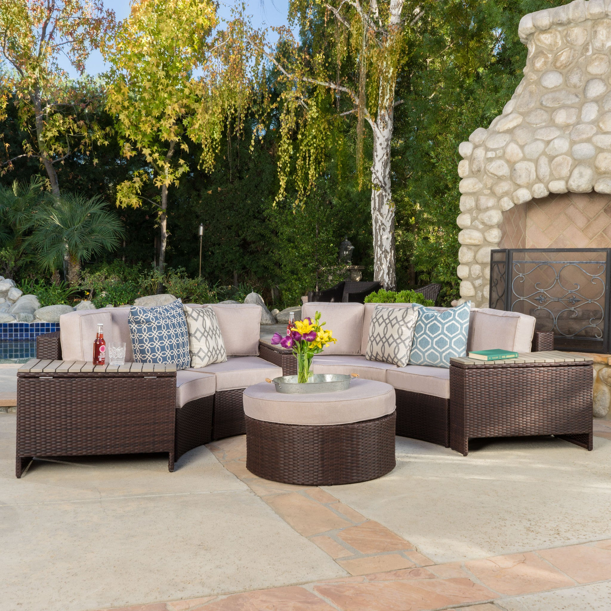 Outdoor Sectional Sofa Set Storage Trunks foto