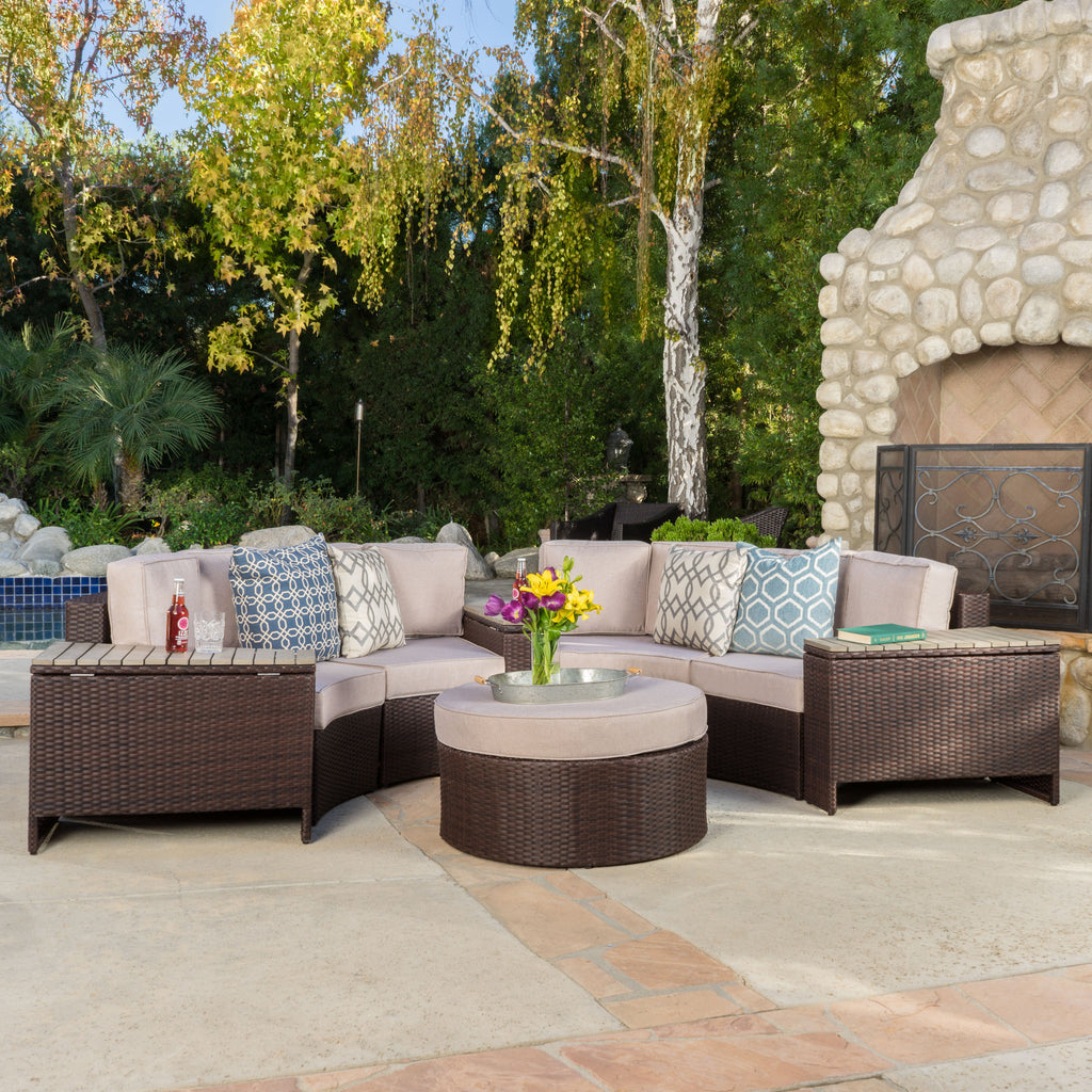 Riviera 8pc Outdoor Sectional Sofa Set w/ Storage Trunks