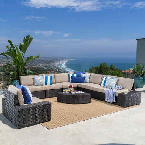 Reddington Outdoor 9 Piece Wicker Sectional with Beige Water Resistant Cushions