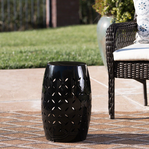 "Dione Outdoor 12"" Iron Side Table"