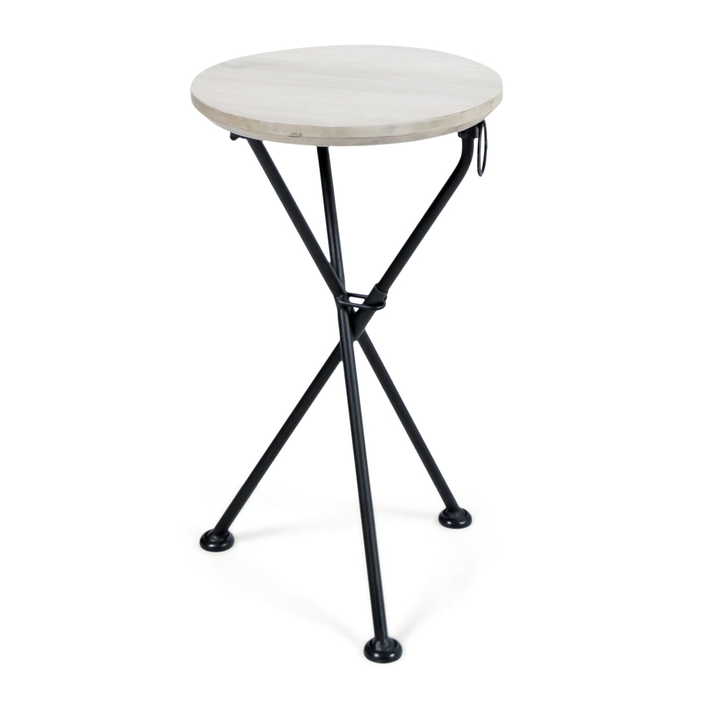 Lily Indoor Portable Foldable Light Gray Finished Acacia Wood Side Table