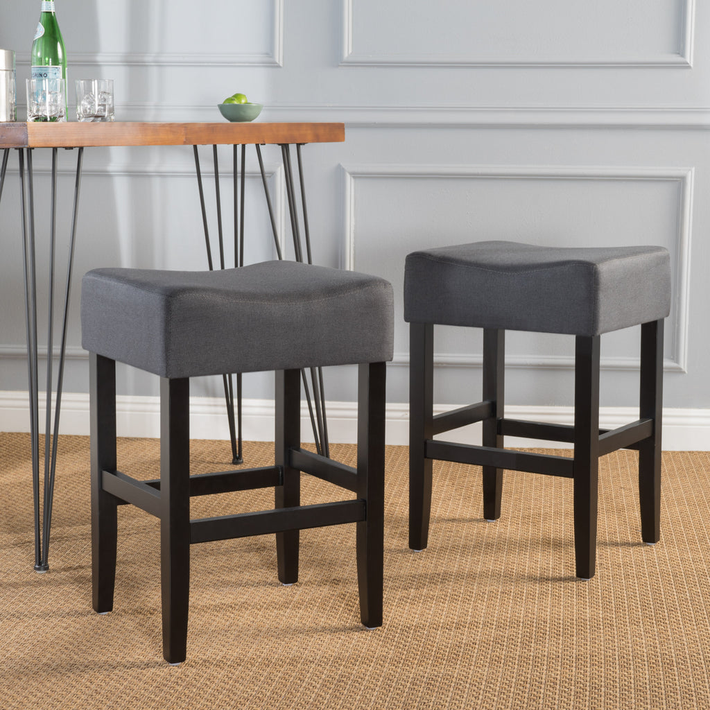 Portofino 26 Inch Backless Dark Charcoal Fabric Counter Stools Set Of 2