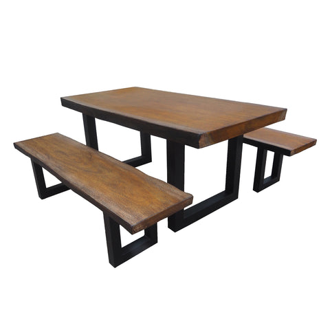 Jasmine Indoor 3 Piece Faux Live Edge Teak Finish Lightweight Concrete Picnic Set