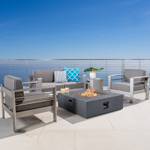 Coral Bay Outdoor Aluminum Khaki Chat Set w/ Fire Table