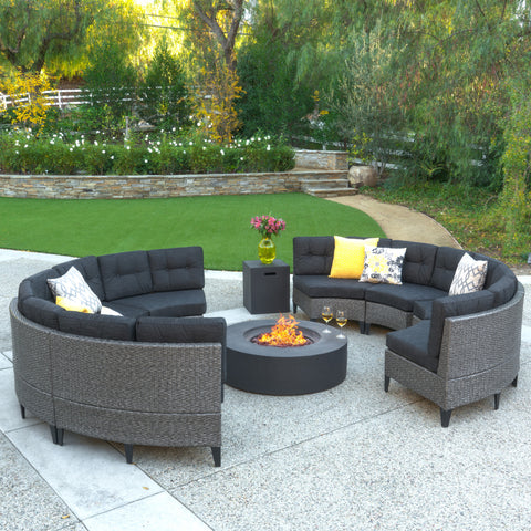 Nessett 10pc Outdoor Fire Pit Sectional Sofa Set