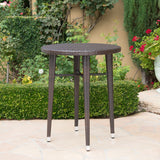 Dom Outdoor 32.5 Inch Round Multi-brown Wicker Bar Table