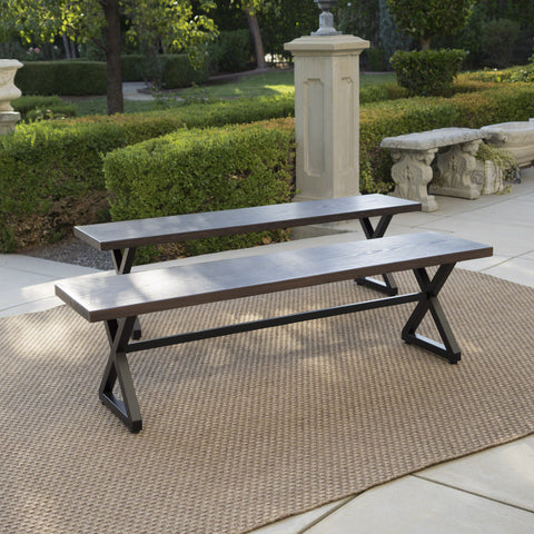 Rosarito Outdoor Aluminum Dining Bench with Black Steel Frame (Set of 2)
