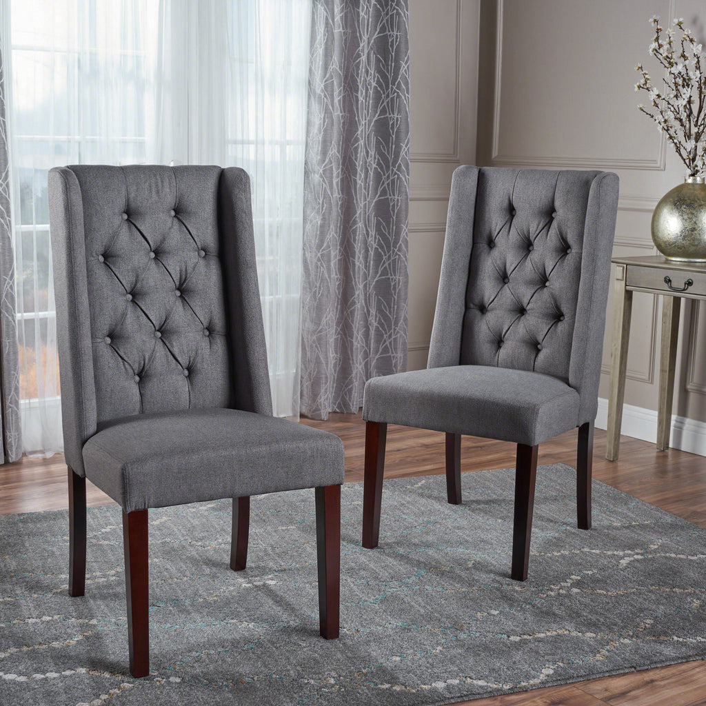 Billings Tufted Fabric High Back Dining Chairs Set Of 2 Gdf Studio