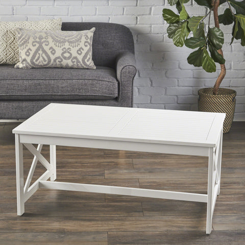 Newman Indoor Farmhouse Finished Acacia Wood Coffee Table
