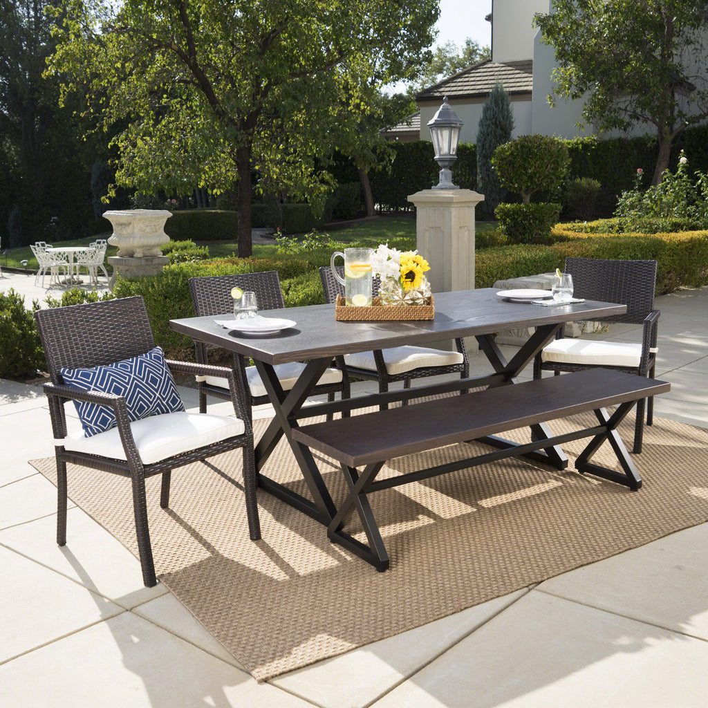 Sherman Outdoor 6 Piece Aluminum Dining Set with Bench and Wicker Dining Chairs
