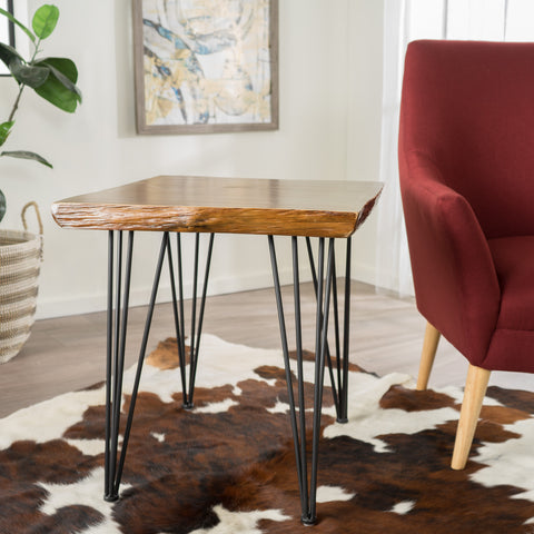 Regent Natural Finish Firwood Faux Live Edge End Table