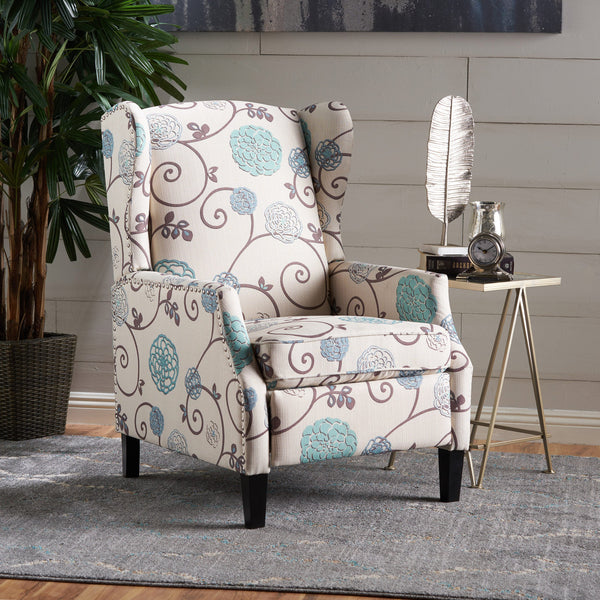 Westeros Traditional Wingback Fabric Recliner Chair Gdf