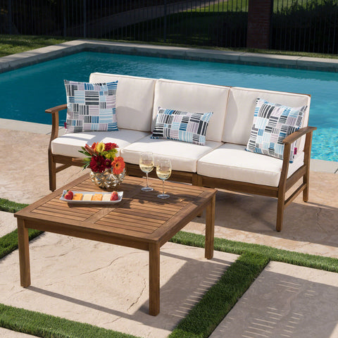 Scarlett Outdoor 3 Seat Teak Finished Acacia Wood Sofa and Table Set