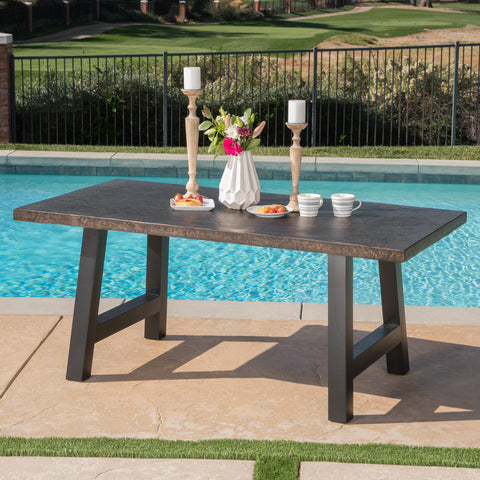 Doris Outdoor Brown Stone Finish Light Weight Concrete Dining Table