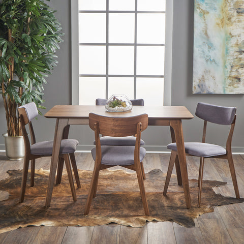 Meanda Mid Century Finished 5 Piece Wood Dining Set with Fabric Chairs