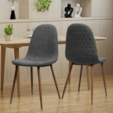 Camden Mid Century Fabric Dining Chairs with Wood Finished Legs - Set of 2
