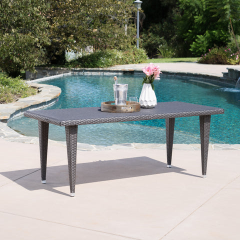 Domina Outdoor 75-inch Gray Wicker Rectangular Dining Table