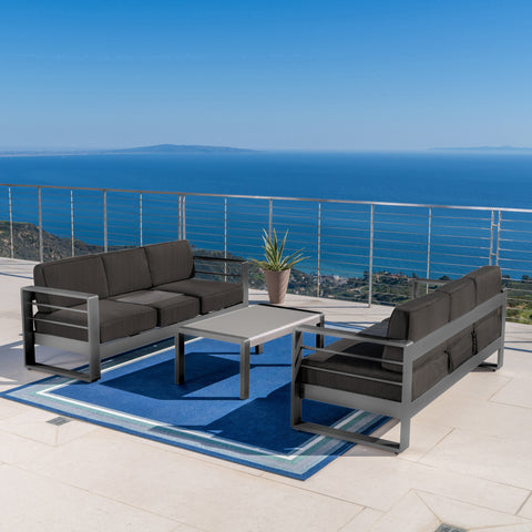 Coral Bay Outdoor Gray Aluminum 3 Piece Sofa Set with Dark Gray Water Resistant