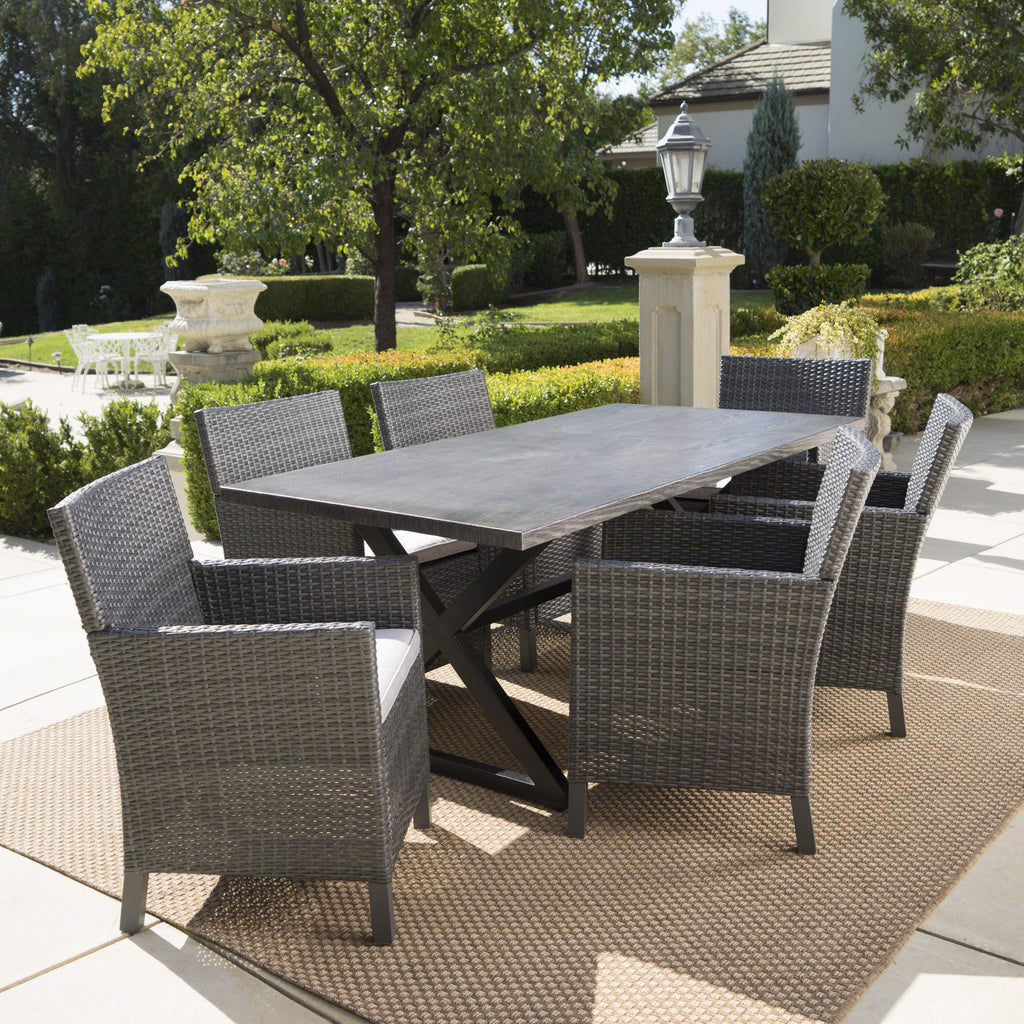 Blane Outdoor 7 Piece Grey Dining Set With Aluminum Dining Table