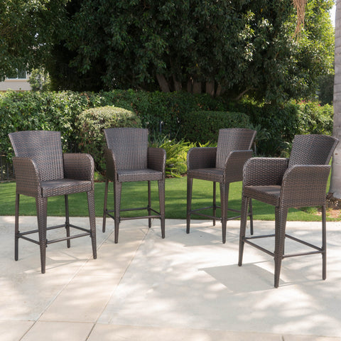 Bheleso Contemporary Outdoor Multibrown Wicker Barstool (Set of 4)