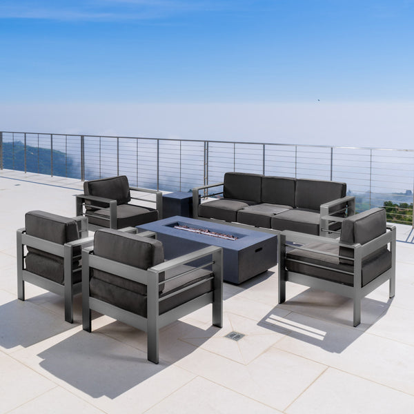Coral Bay Outdoor Gray Aluminum 7 Piece Sofa Chat Set with Fire Table