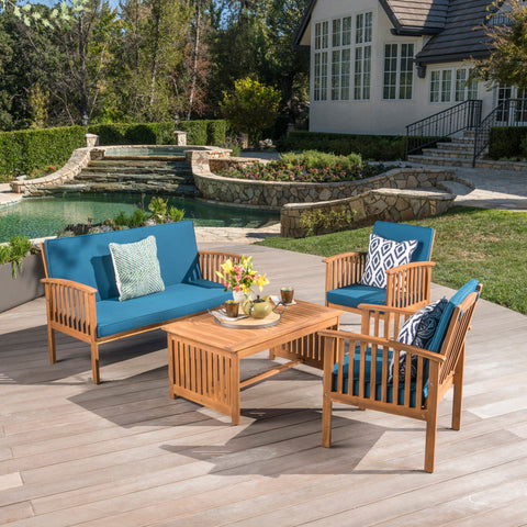 Cape Town Outdoor Acacia Wood Sofa Set with Water Resistant Cushions