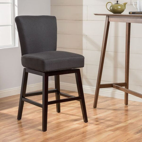 Tristan 28-Inch Dark Brown Fabric Swivel Counter Stool