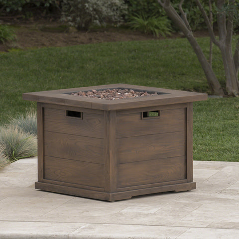 Ellesmere Outdoor Wood Patterned Square Gas Fire Pit