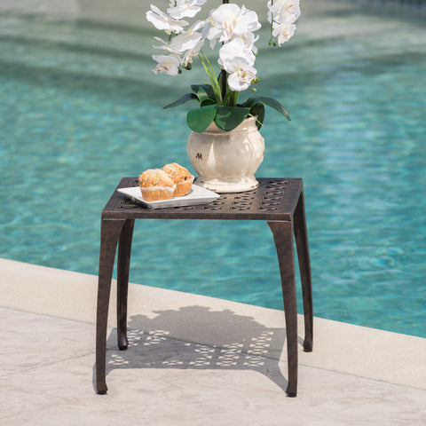 "Kata Outdoor 18"" Bronze Finished Cast Aluminum Side Table"