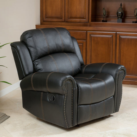 Harbor Cozy Black Leather Gliding Recliner