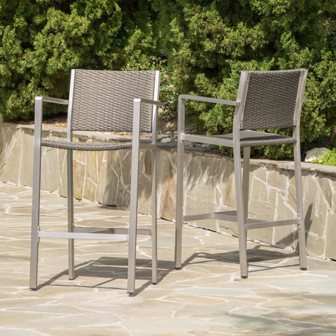 Capral Outdoor Grey Wicker Barstools (Set of 2)