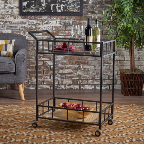 Talon Indoor Industrial Modern Black Iron Bar Cart with Tempered Glass Top