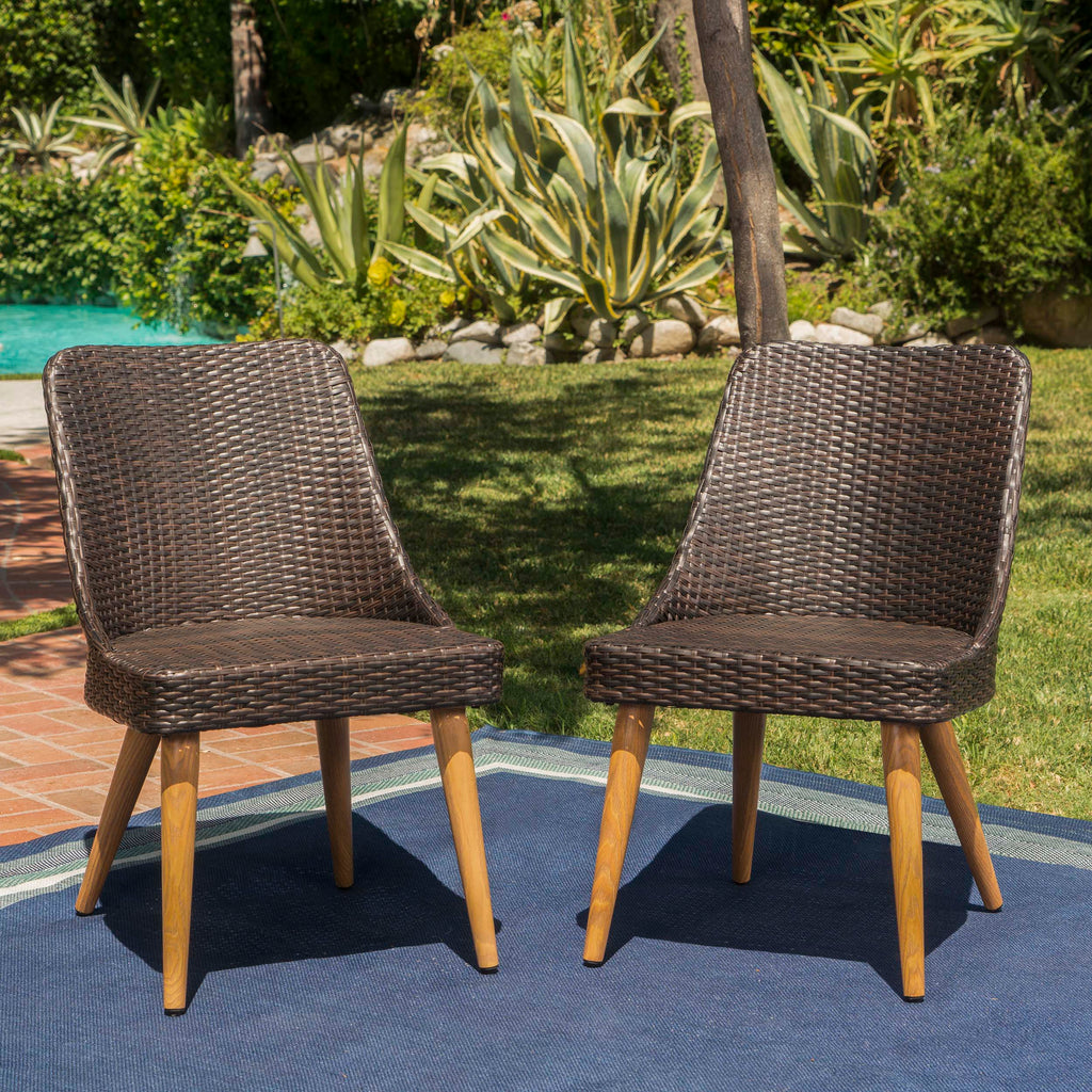 Rattan Chair Metal Legs: Desmond Outdoor Wicker Dining Chairs With Wood Finished
