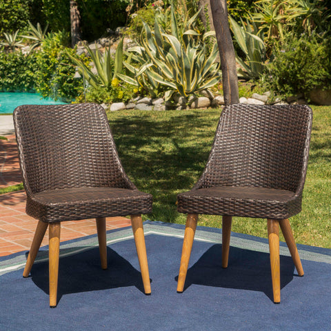 Desmond Outdoor Wicker Dining Chairs with Wood Finished Metal Legs (Set of 2)