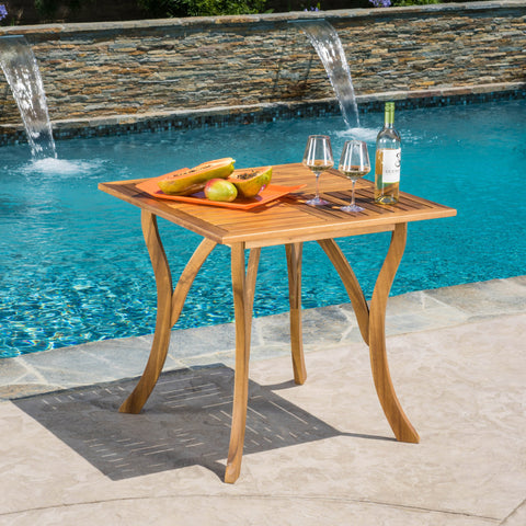 Baia Outdoor Patio Square Acacia Wood Table