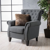 Solvang Contemporary Tufted Scroll-Back Upholstered Club Chair w/ Scrolled Arms