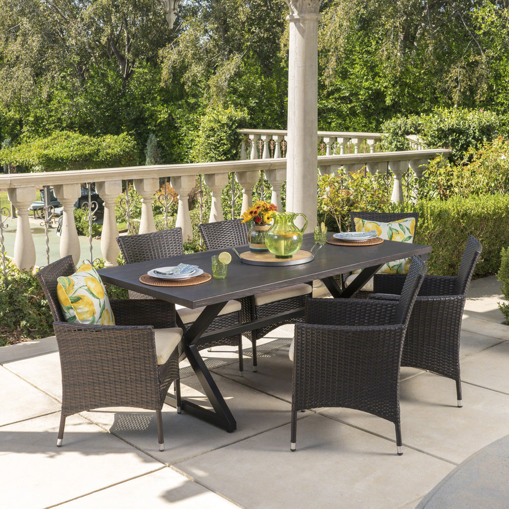 Dionlynn Outdoor 7 Piece Aluminum Dining Set with Wicker Dining Chairs