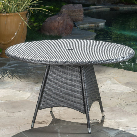Colonial Outdoor Grey Wicker Round Dining Table