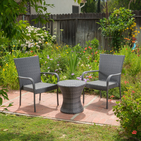 Parham Outdoor 3 Piece Grey Wicker Stacking Chair Chat Set