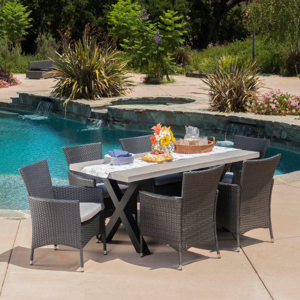 Sanscar Outdoor 7Pc Dining Set with Light-Weight Concrete Rectangular Table