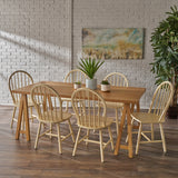 Angela Farmhouse Cottage 7 Piece Faux Wood Dining Set with Rubberwood Chairs, Antique White