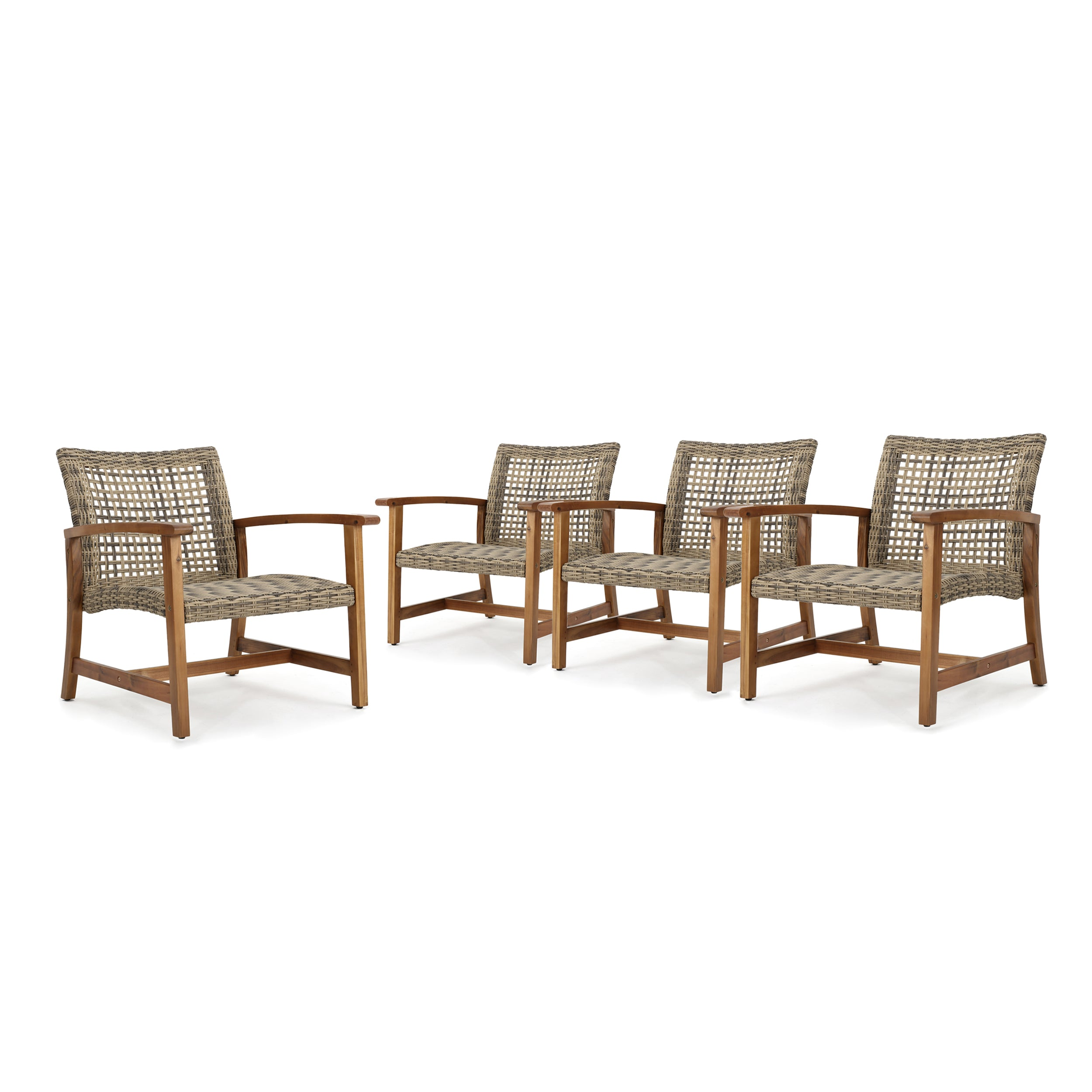 Alyssa Outdoor Mid Century Gray Wicker Club Chairs with Wood Frame Set of 4