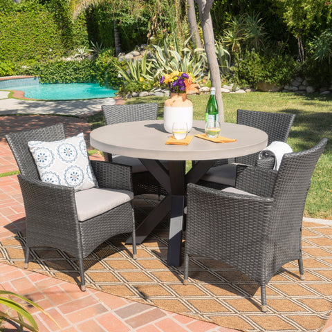 Sansai Outdoor 5 Piece Wicker Dining Set with White Concrete Table