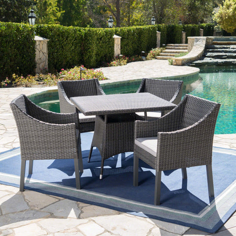 Frances Outdoor 5 Piece Wicker Round Dining Set with Water Resistant Cushions